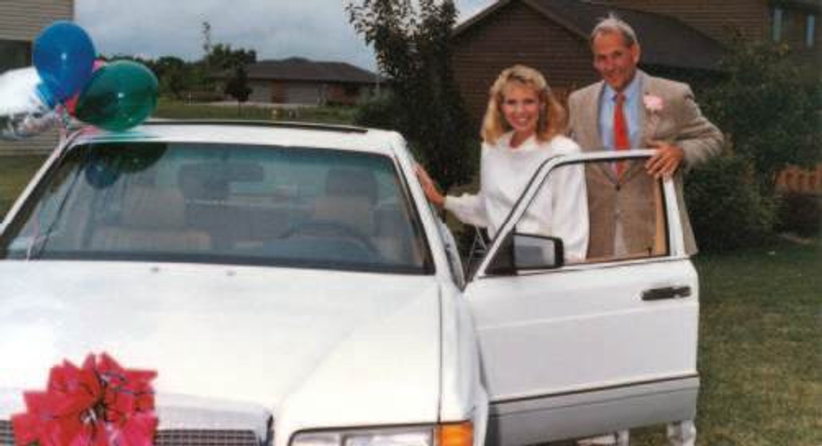 Donna with Founder Petter Mørck at her NVP Mercedes-Benz Car Presentation in 1991.