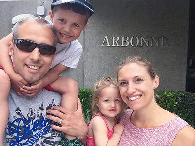Zoe with husband, Jon, and children, Theo and Jessica. }}