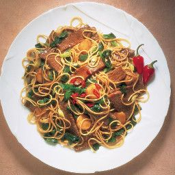 Stir Fry Beef Spinach With Noodles