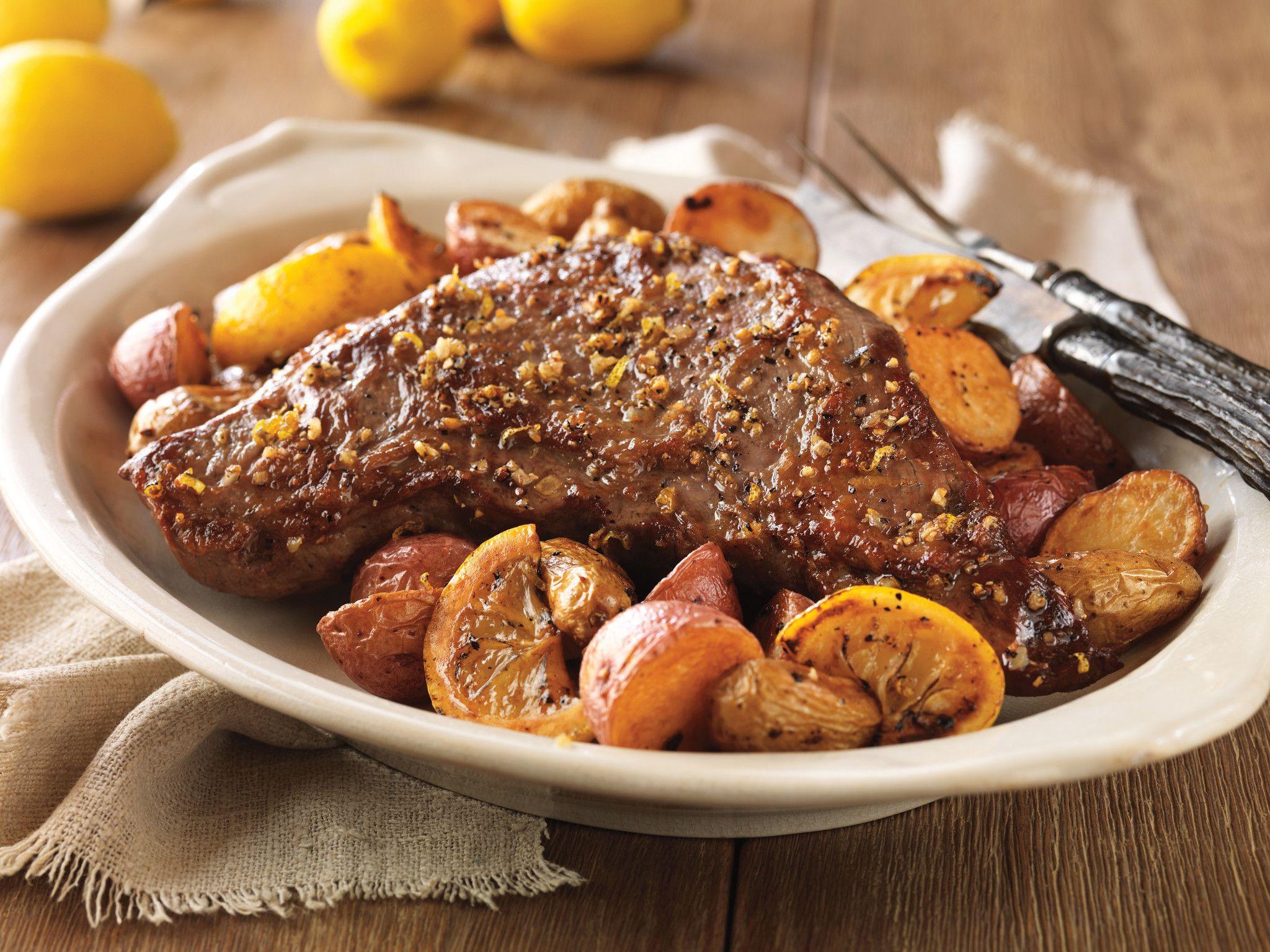 Lemon Garlic Beef Tri Tip And Roasted Potatoes,Flat Iron Steak Cooked