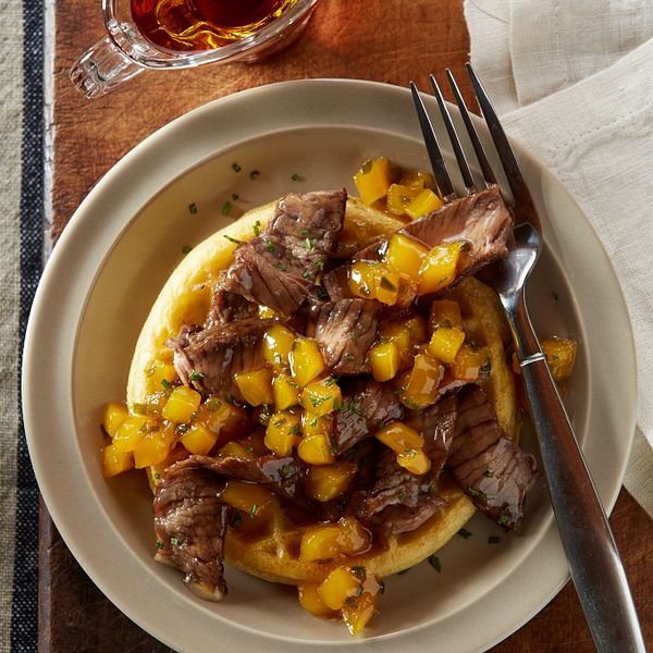 beef-breakfast-waffles-with-mango-syrup-close-up