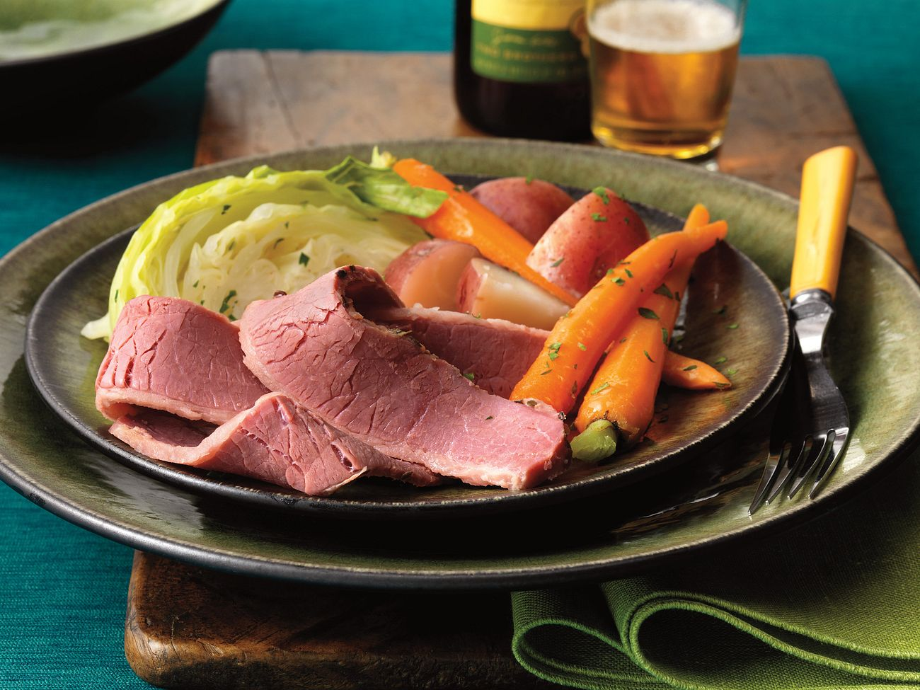 slow-cooked-corned-beef-in-beer-with-red-currant-mustard-sauce