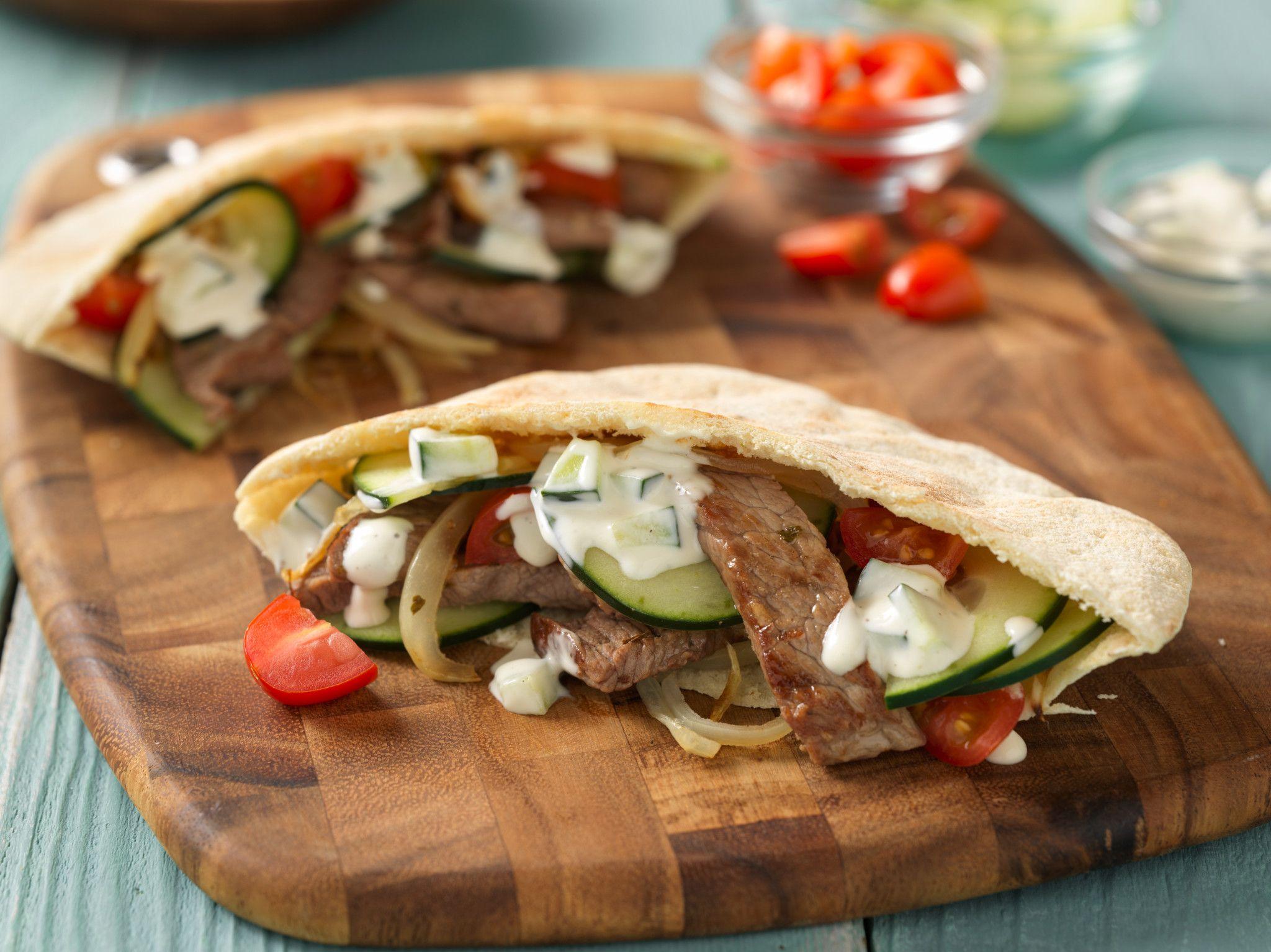Stir fried beef gyros in pita pockets download high res image forumfinder Images