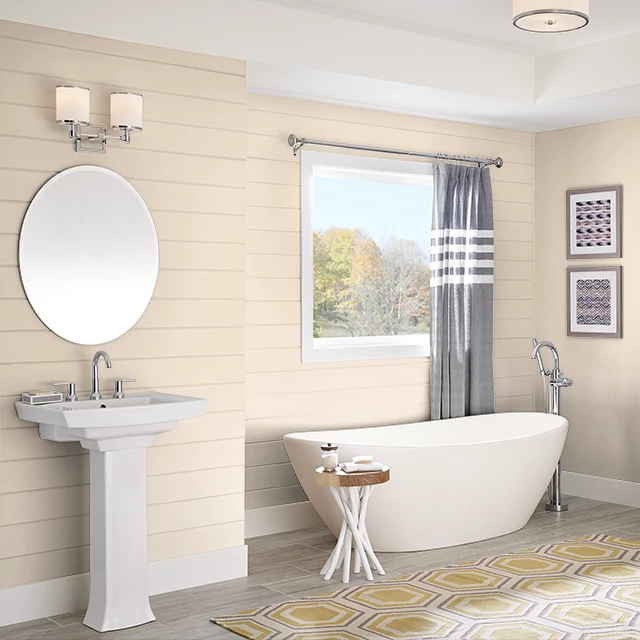 Bathroom painted in SUGAR BEIGE
