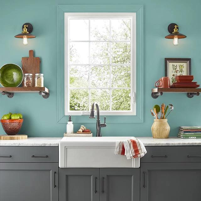 Kitchen painted in GARDEN POND