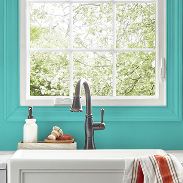 Kitchen painted in TROPICAL ESCAPE