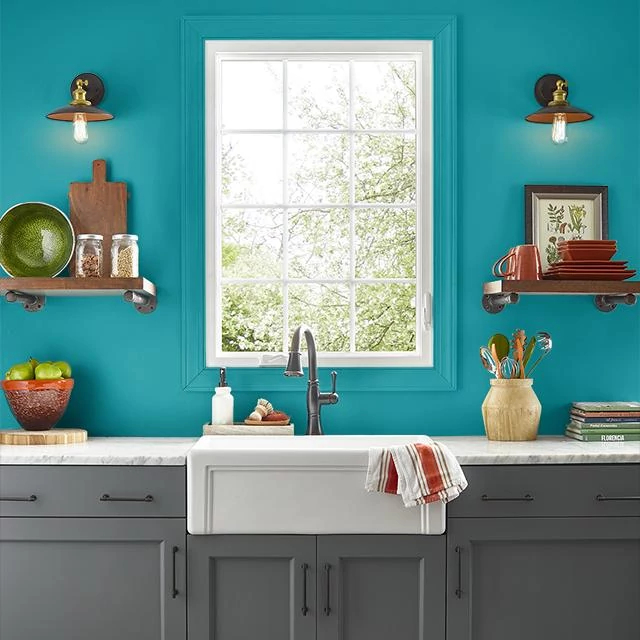 Kitchen painted in PEACOCK PLUME