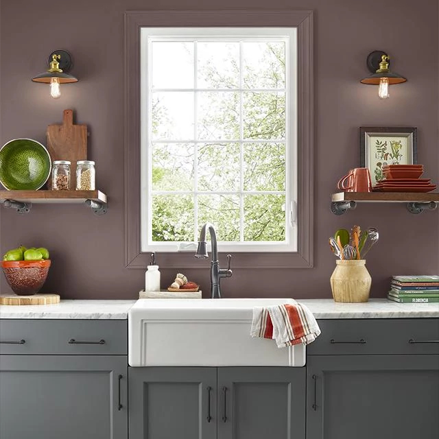 Kitchen painted in BURNT CLAY