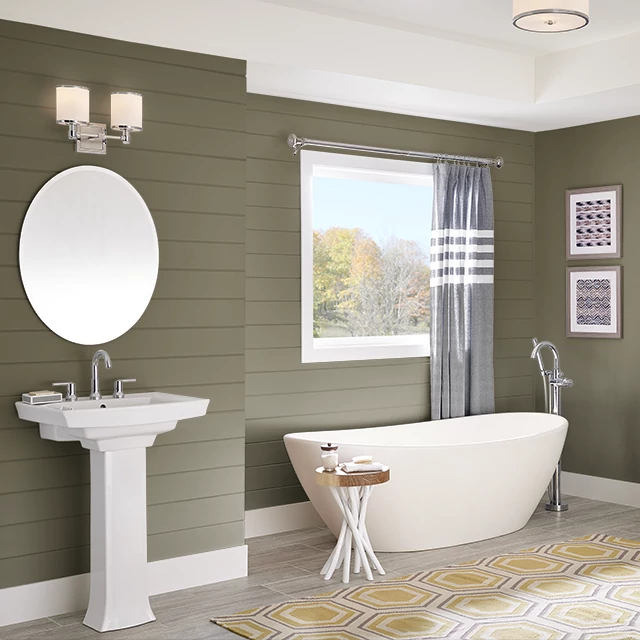 Bathroom painted in TEA LEAF