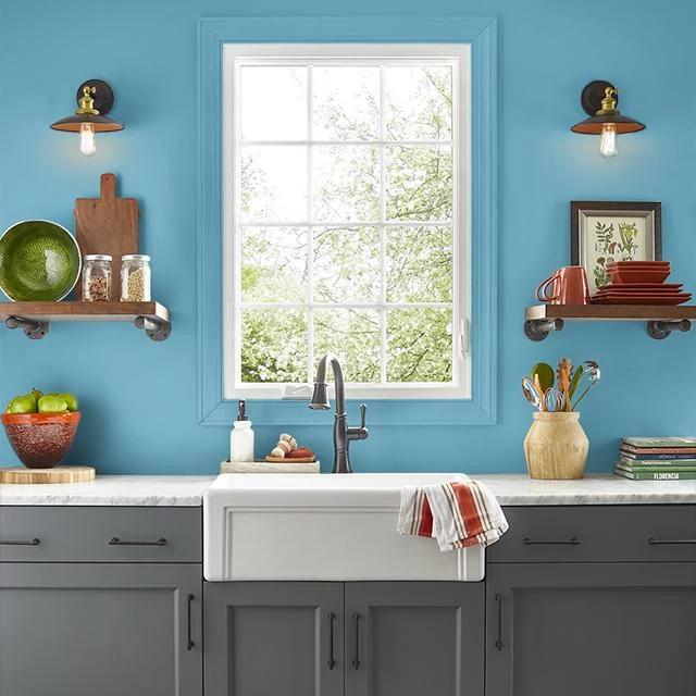 Kitchen painted in CASPIAN BLUE