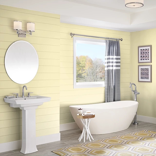 Bathroom painted in YELLOW TAFFY