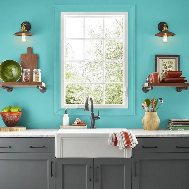 Kitchen painted in VIVID TURQUOISE