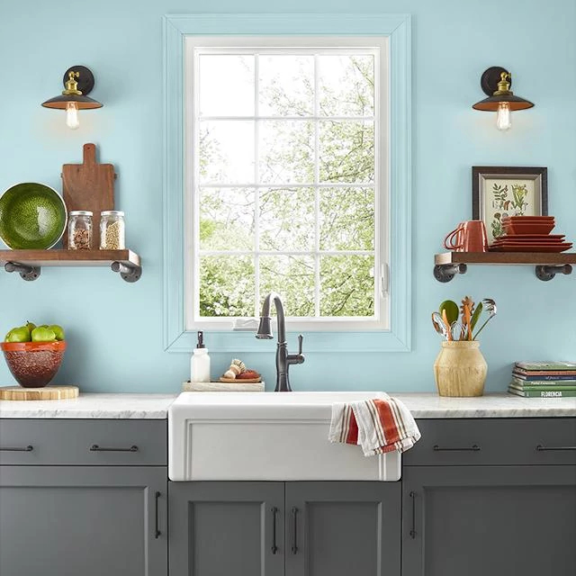 Kitchen painted in DROP OF TEAL