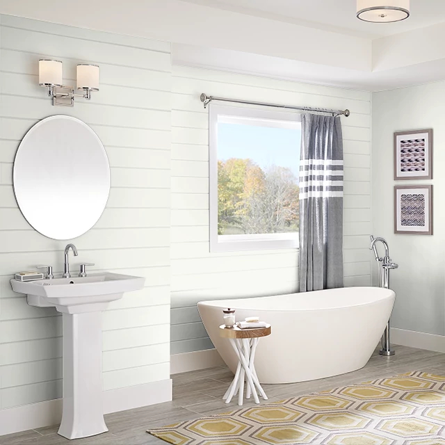 Bathroom painted in WHITE WING