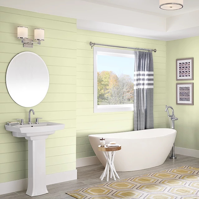Bathroom painted in MINT ICE CREAM