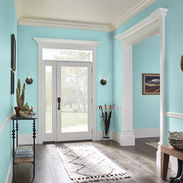 Foyer painted in AQUA WAVE