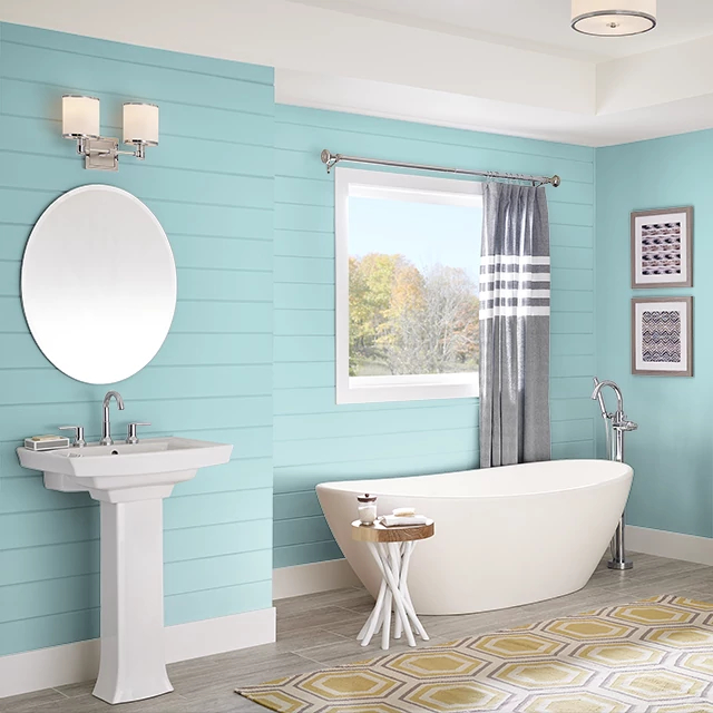 Bathroom painted in POLAR BLUE