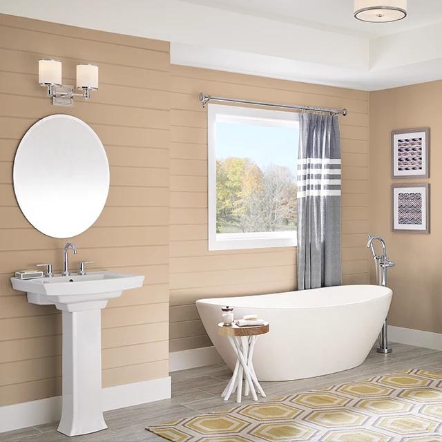 Bathroom painted in PEANUT SHELL