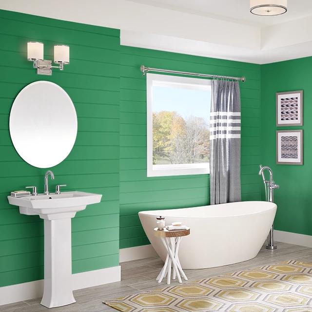 Bathroom painted in MAGICAL HUMMINGBIRD