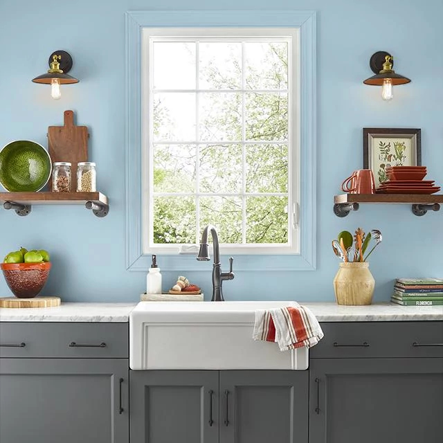 Kitchen painted in QUIET BLUE