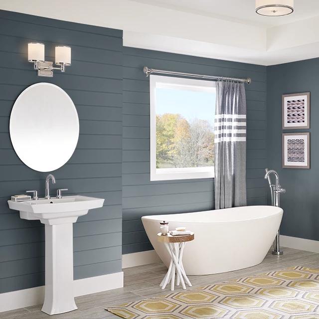 Bathroom painted in KETTLE BLACK