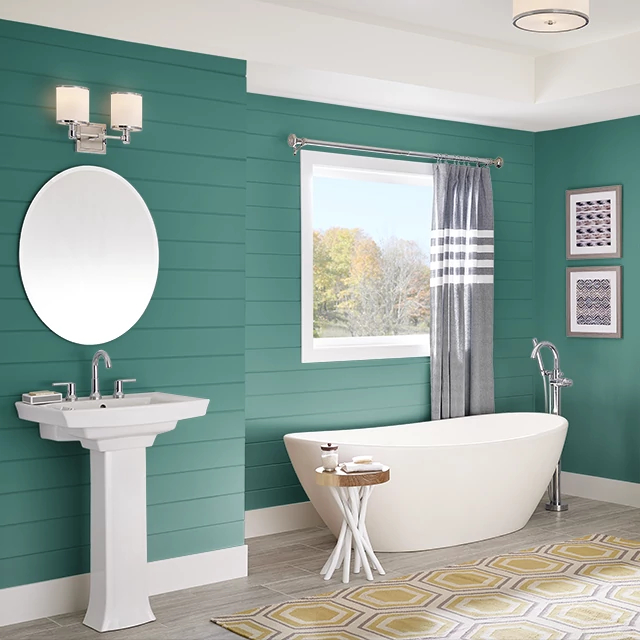 Bathroom painted in TEAL GREEN