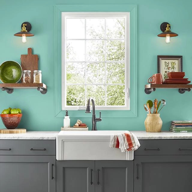 Kitchen painted in SPEARMINT LEAF