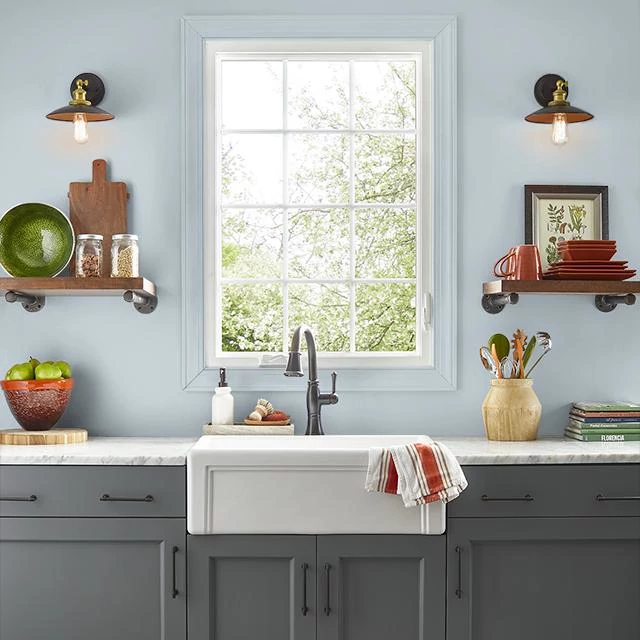 Kitchen painted in SOOTHING OCEAN