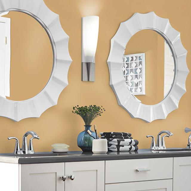 Bathroom painted in GOLDEN COMPASS