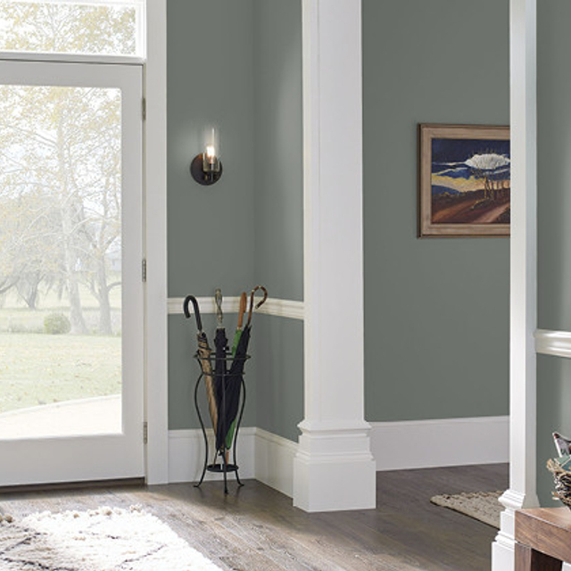 Foyer painted in LINCOLN GREEN