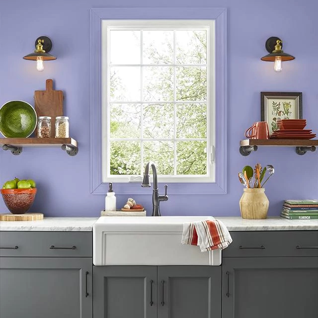 Kitchen painted in LAVENDER GLOW