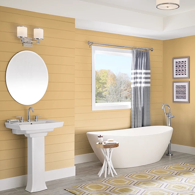 Bathroom painted in AGED AMBER