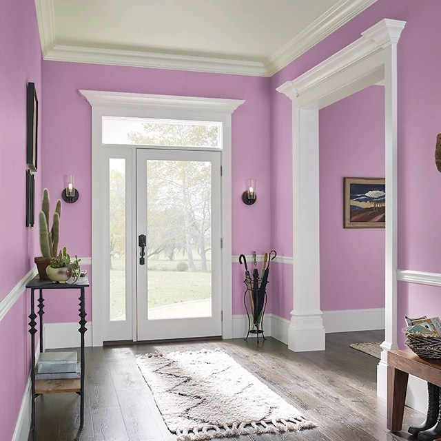 Foyer painted in BERRY PUNCH