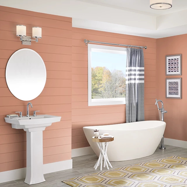 Bathroom painted in INDIAN CURRY