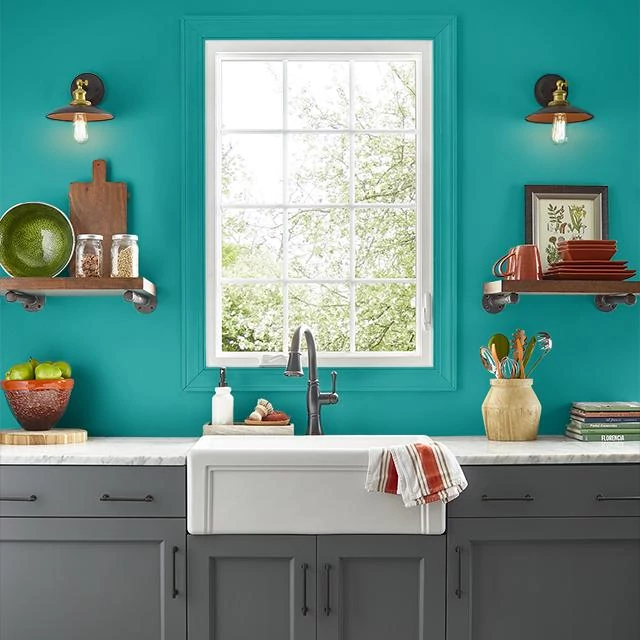 Kitchen painted in CARIBBEAN SPLASH