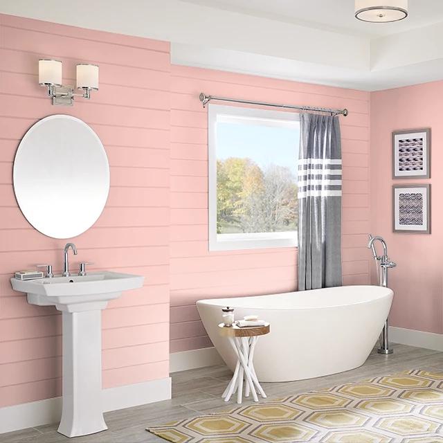 Bathroom painted in MELON JUICE