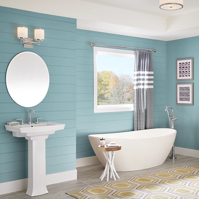 Bathroom painted in BLUE SAGE