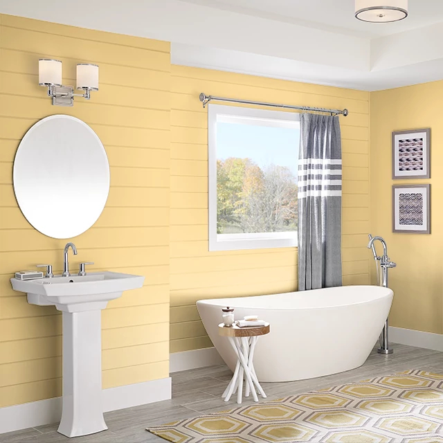 Bathroom painted in YELLOW DUCKLING