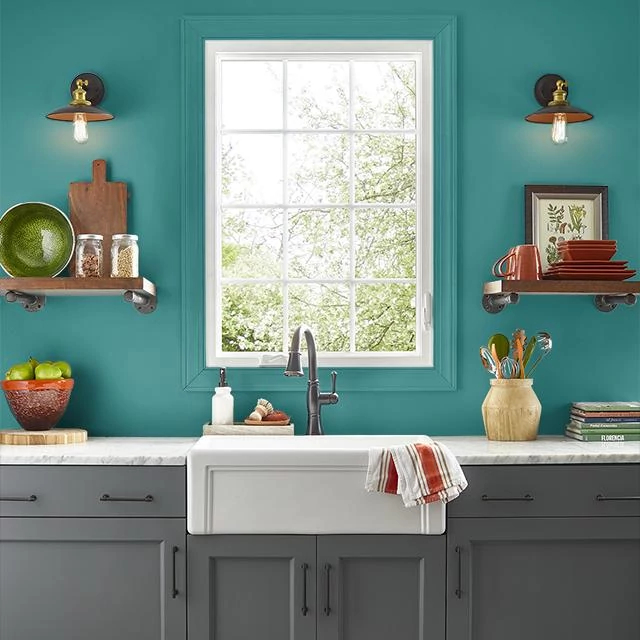 Kitchen painted in TROPICAL LAGOON
