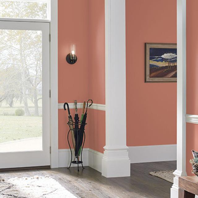 Foyer painted in BAKED TERRA COTTA