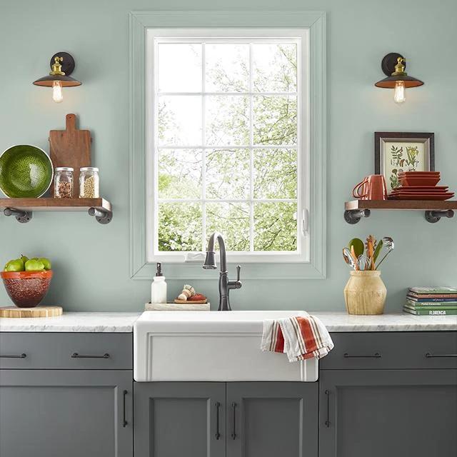 Kitchen painted in SAGE POND
