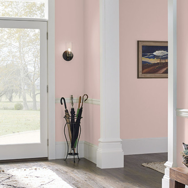 Foyer painted in FLAPPER PINK