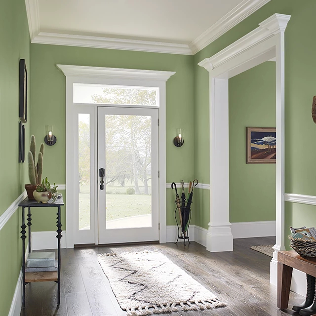 Foyer painted in FRESH MOSS