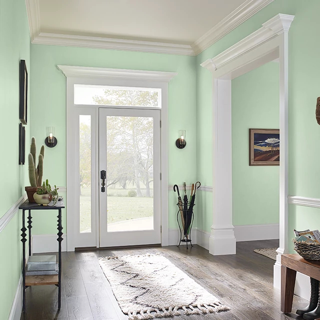 Foyer painted in BUDDING GREEN