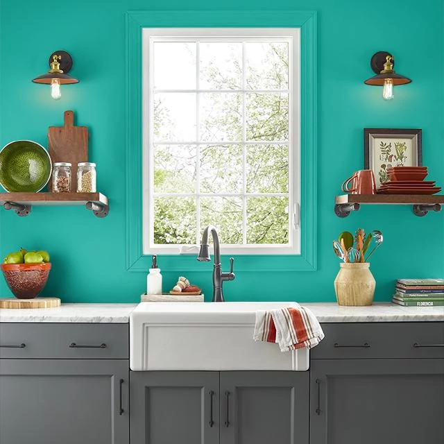 Kitchen painted in DEEP TEAL