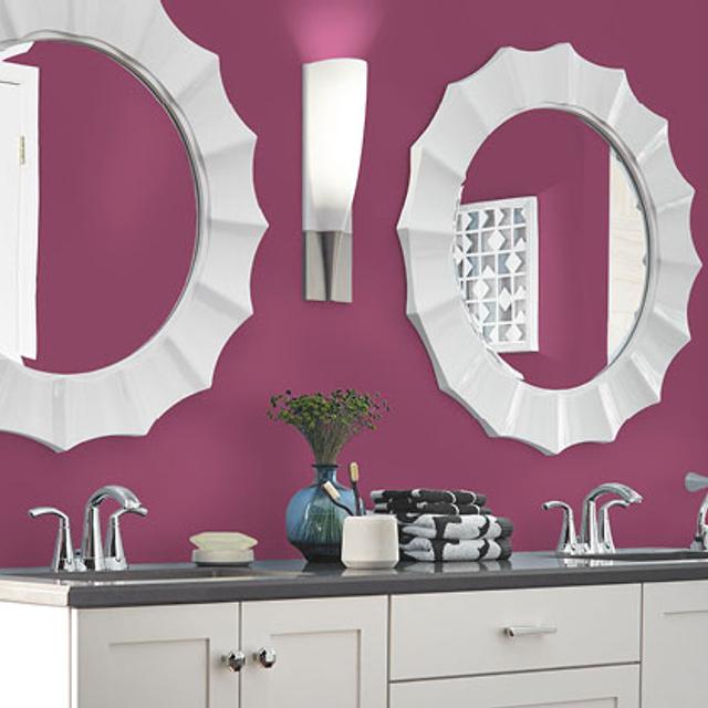 Bathroom painted in CRIMSON VELVET