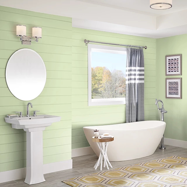 Bathroom painted in MELON EXTRACT