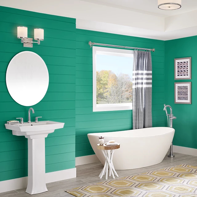 Bathroom painted in POP OF GREEN