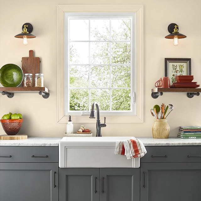 Kitchen painted in YARDS OF MUSLIN