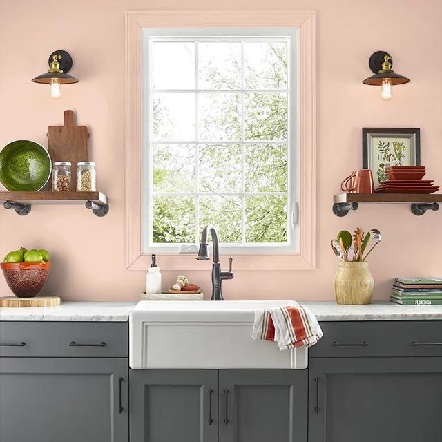 Kitchen painted in GOSSAMER PEACH